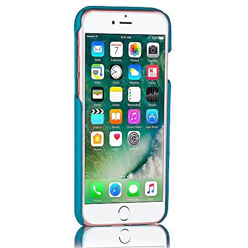 Voguecase Pour Apple iPhone 7 Plus 5,5, PU Housse en cuir synthétique pour la couverture dur Apple iPhone 7 Plus 5,5 avec Emplacements de carte(Marron) de Gratuit stylet l'écran aléatoire universelle Bleu