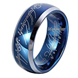Moneekar Jewels 8mm Sapphire Blue Tungsten Carbide Ring Lord of The Rings B