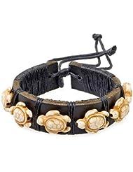 PAPAYANA Hippes Leder-Armband besetzt mit elfenbeinfarbenen Steinen in Schildkröten-Form