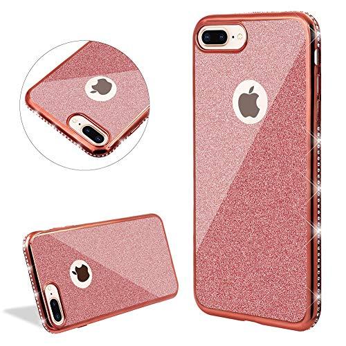 DasKAn Diamant Glitzer Durchsichtig Silikon Hülle für iPhone 7 Plus/8 Plus, Bling Strass Überzug Rahmen Ultra Dünn Gummi Kristall Klar Rückseite Handy Tasche TPU Schutzhülle,Rose Gold - Gender Changer-modell