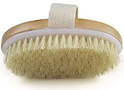 Dry Skin Body Brush - Improves Skin's Health And Beauty - High Quality Natural Bristle Brush for Daily Use And Travel - Helps Remove Dead Skin And Toxins Cellulite Treatment Improves Lymphatic Functions Exfoliates Stimulates Blood Circulation - Convenient Soft Handle For Good Grip Free Pouch For Travel And HookIncluded - Cotton Loop for Hanging