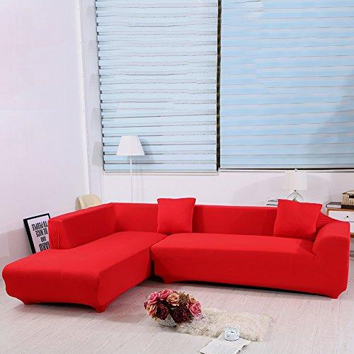 ele ELEOPTION Sofa Überwürfe elastische Stretch Sofa Bezug 2er Set 3 Sitzer für L Form Sofa inkl. 2 Stücke Kissenbezug (Rot) (Sofas Rot)