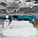 Apalis Vliestapete Cadillac Fototapete Breit | Vlies Tapete Wandtapete Wandbild Foto 3D Fototapete für Schlafzimmer Wohnzimmer Küche | türkis, 95041