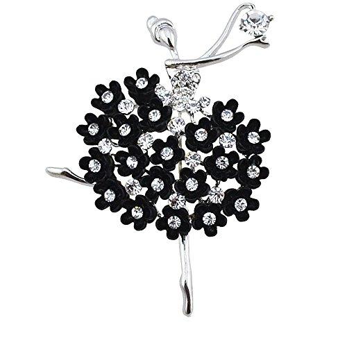 Femme Belles Élégant Alliage Diamant Imité Résine Fille Dansante Broche Argent Et Noir