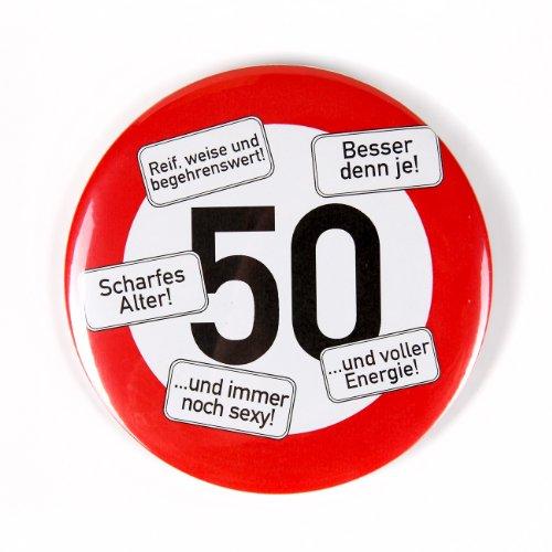 Herz & Heim® Riesen Verkehrsschild Button zum 50. (Dekorationen Online Geburtstag)