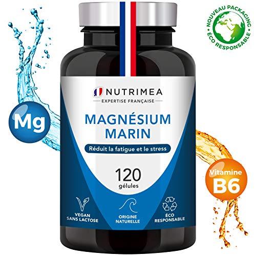 Magnésium Marin et Vitamine B6 - 300 mg / jour -120 gélules d'origine végétales jusqu'à 4 mois de cure - Combat efficacement la fatigue - Fabrication française