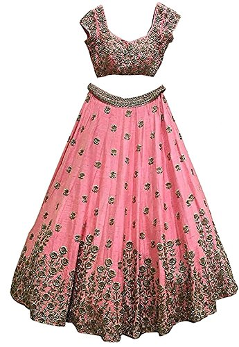 Granthi Creation Women's Pink Color Embroidered Banglory Semi-Stitched Bridal Lehenga Choli
