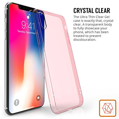 iPhone X Custodia, iPhone 10 Custodia da Centopi - Resistente ai Graffi - Ultra Sottile e Leggera - Nessun Ingombro - Custodia Posteriore in Sottile Gel TPU - Fumo Nero Rosa