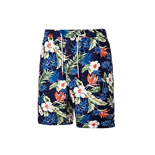 Hot Men's Print Board Shorts Quick Dry Beach Shorts Surfing Beach Wear Floral Short Men Boardshorts,Navy blue-k12,4XL