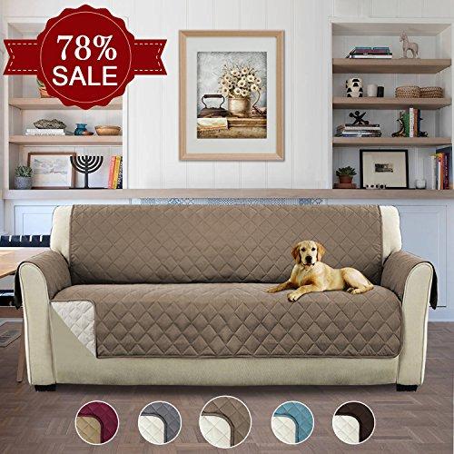H.versailtex copridivano 3 posti impermeabile divano protector mobili coperture su due lati per cani / gatti letto con divano slipcovers 190 x 167cm, grigio marrone