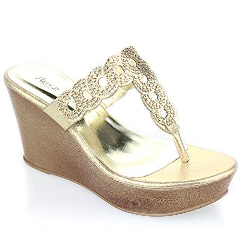 Aarz signore delle donne serata informale Comfort Slip-on Zeppa Diamante sandalo calza il formato (oro, argento, nero)