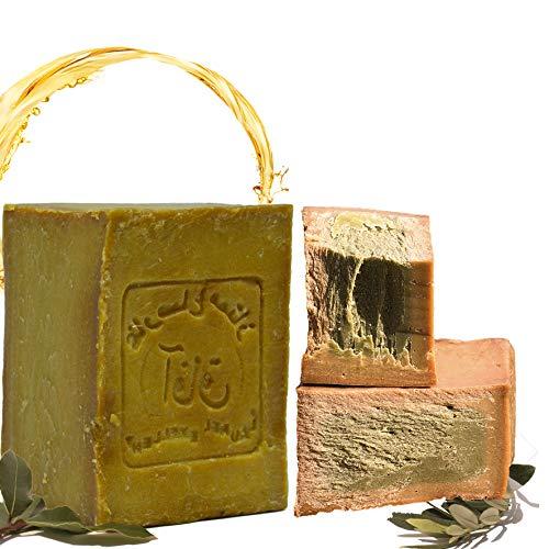 E4U Original Aleppo Seife 200g, 50% Lorbeeröl und 50% Olivenöl. Vegan, Naturseife, Detox Eigenschafteni Duschseife, Rasierseife, Traditionelles Rezept aus dem Orient