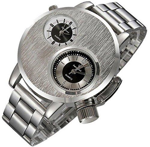 reloj de los hombres, FEITONG La moda de Nueva Hombres de acero inoxidable Fecha del deporte militar de pulsera de cuarzo analógico