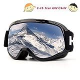 lunettes de ski enfants, lunettes de snowboard anti-buée anti-buée UV avec double lentille et grand angle (enfant noir sangle)