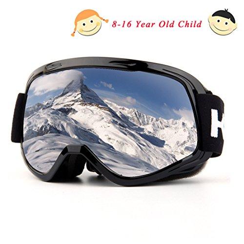 Skibrille, Over Glasses Snowboardbrillen für Männer, Frauen, Jugendliche oder Kinder - UV400 Schutz und Anti-Fog - Double Grey Sphärische Linse bequem zum Skaten Skifahren Schneemobile (schwarz-Kinder-VLT 12.12%)