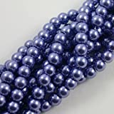 Beads4Crafts Blue/Purple Glass Pearl Beads (1 Double String 110 Beads) *FREE UK POSTAGE* 4 SIZES (8mm - BGP557)