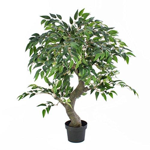 artplants – Künstlicher Ficus Exotica Yuma, grün, 80 cm – Deko Feigen Pflanze/Kunstbaum