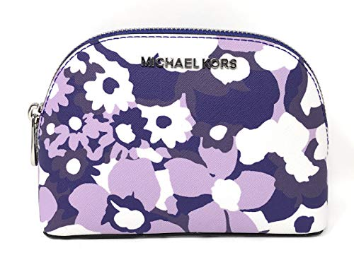 Michael Kors Jet Set Travel MD Cosmetic Travel Pouch Bag in Tile Blue Big Flowers