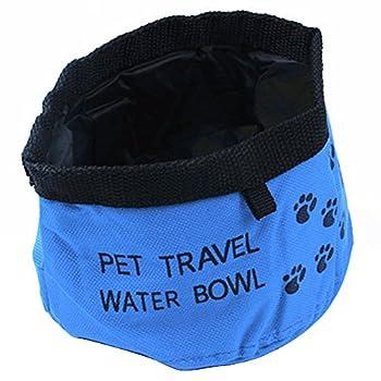 Sijueam Gamelles de Voyage en Oxford tissu Souple pour Chiens Chats Chiot Animaux Pliable écuelle imperméable Portable bol pour l'eau Alimentaire - Bleu