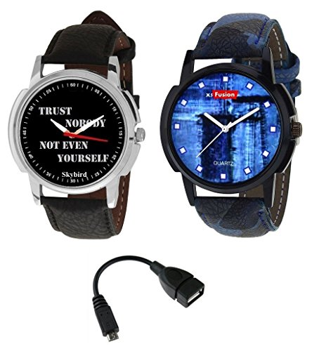 X5 Fusion Men's watch set of 2 TRUST NO BODY AND TRENDY DOTS FREE OTG Cable