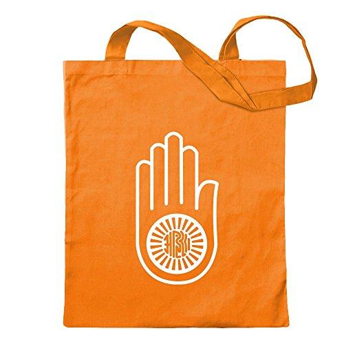 KIWISTAR - Jain Hand Ahimsa Jutebeutel in 12 verschiedenen Farben - Tragetasche bedruckt Sprüche Spruch Motive Baumwolltasche Print Stoffbeutel Umhängetasche langer Henkel