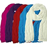 Solid Color 2.25 Meter 100% Pure Cotton Dupatta Combo Pack of 5 - Free Size