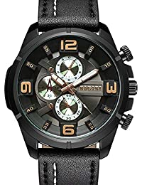 Relojes Hombre Relojes de Pulsera Militar Deportivo Impermeable Cronógrafo Analógico Reloj de Cuero Cuarzo Cool Moda