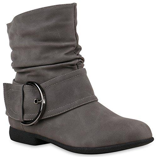 Rebites Deslizamento Das Senhoras Ankle Boots Óptica Botas De Couro Fivela Cinza