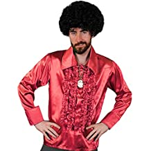 I Love Fancy Dress ilfd4599X L rojo disco camisa para hombre Deluxe discoteca volantes camisa de disco de 1970rey disfraz XL