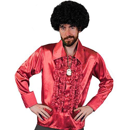 ILOVEFANCYDRESS I Love Fancy Dress ilfd4599m rot Disco Shirt Deluxe Herren Disco Rüschen Hemd Disco 70er King Fancy Dress M -