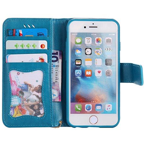 EUWLY Case Cover per iPhone 6/6s (4.7) Custodia Portafoglio PU Pelle Nottilucenti Luminosa Elegante Ragazza e Gatto con Fiori Farfalla Modello Premium Morbido PU Leather Wallet Custodia Case Supporto Blu