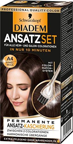 Schwarzkopf Diadem Ansatzset Haarfarbe, A4 Dunkelbraun, 3er Pack (3 x 22 ml) (Braune Haare Färben Spray)