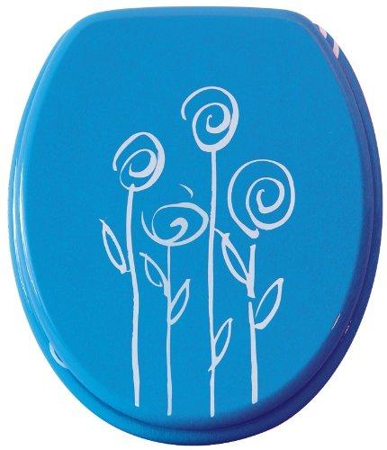 WC-Sitz Dekor Blumen blau | Bemis | Toilettensitz | WC-Brille aus Holz | - Bemis Wc-scharnier