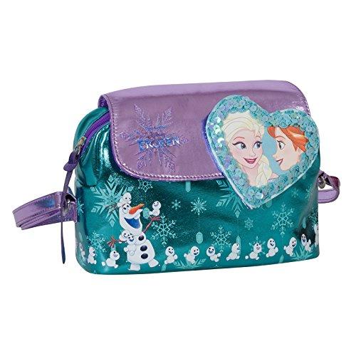 Disney frozen cuore magico - borsa a tracolla da bambina - effetto laminato - colore celeste