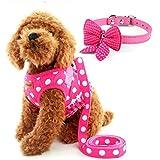 Arnés de Perro Pequeño, Señoras chaleco de perros, diseño de lunares rosa con cinta y lazo para el cuello, malla acolchada cachorro gato pequeño niña chaleco arnés