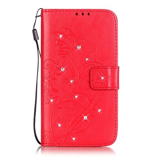 Mk Shop Limited Etui iPhone 5/5S Luxe PU Cuir Coque Housse Portefeuille Dragonne Case Cover de Protection Swag Shell avec Fonction Support Gaufrage Motif avec Diamant pour Apple iPhone 5/5S Multi-couleur 8