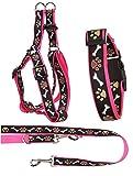Ein Set - Halsband, Hundegeschirr Step-In, Hundeleine - verstellbar, Zugentlastung, stabil, bequem, weich, Farbe Rosa - TX-ZOO/Zd-PINK