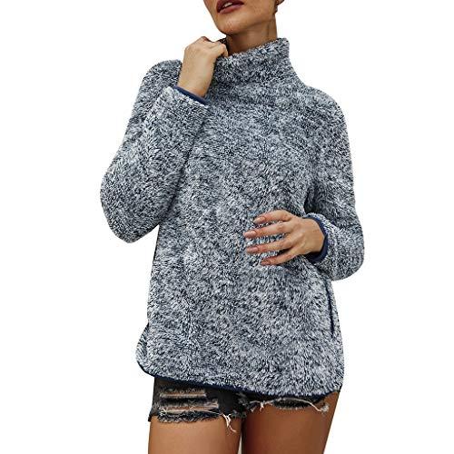 Xiangdanful Damen Plüsch Pullover Hoodie Rollkragen Sweater Pullis Teddy-Fleece Mantel Jacke Langarm Einfarbig Sweatshirt Bluse Casual Oberteile Herbst Winter Warm Streetwear (XL, Grün)