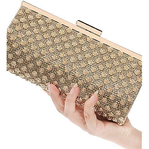 Da Wu Jia señoras bolso de lujo de alta calidad a las mujeres elegantes de alto grado diamantes Rosa Bolsa de noche , Oro