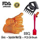 Keynice Silicone e Flessibili Gloves-heat Resistente+ un Paio di Pinze per Separare la Carne Utensili da Cucina per le Vostre Esigenze di Cucina -Arancia