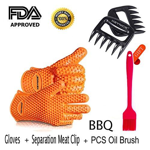 Keynice BBQ Silikon Handschuhe + Fleisch-Klauen zum Zerteilen von Fleisch (Pulled-Pork). Ofenhandschuhe aus hitzebeständigem, wasserdichtem, lebensmittelechtem Silikon zum Grillen, Backen und Kochen für Drinnen und Draußen. (GELB)