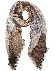 Distressed XXL Damen Winter Schal Deckenstoffschal Schalcape mit Fransen und spitzen Enden - viele Farben