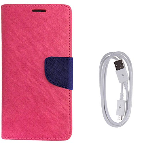 Avzax Diary Look Flip Case Cover For Vivo Y51L (Pink) + Data Transfer & Charging Cable