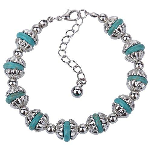 a5f8c1ac7297 YAZILIND vendimia Rimous turquesa con cuentas Pulsera de cadena de plata  tibetana del brazalete