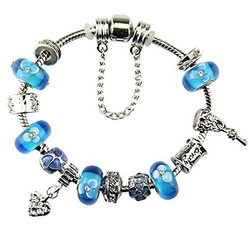 ChuangYing Frauen himmelblau geschnitzten Klee Diamant farbige Perlen Armband Strass kreative Hand String - Hand Geschnitzten Vergoldeten