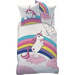 CTI ropa de cama 45557 Einhorn/Unicornio Fiesta 135x200+ 80x80cm 100% algodón (Césped)