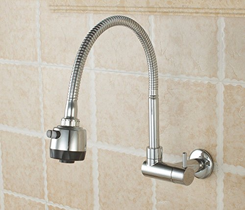 Küchenarmatur Wasserhahn Küche Mit Herausziehbarer Dual-Spülbrause In-Wall Kitchen Single Cold Faucet Dish Basin Sink Mop Pool Faucet Mop Pool Faucet Universal Rotating CopperFaucet B Dish Mop