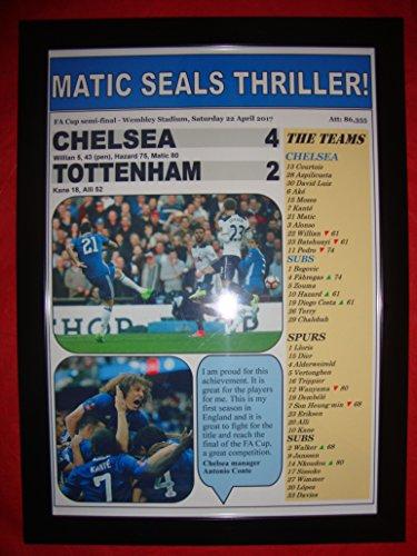 Lilywhite Multimedia Chelsea 4 Tottenham Hotspur 2 - 2017 FA Cup Halbfinal, gerahmter Druck -