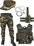 United States Marine Corps Kostüm Set bestehend aus Weste, Hose, Holster, Handschellen und Feldmütze Farbe Woodland Größe M