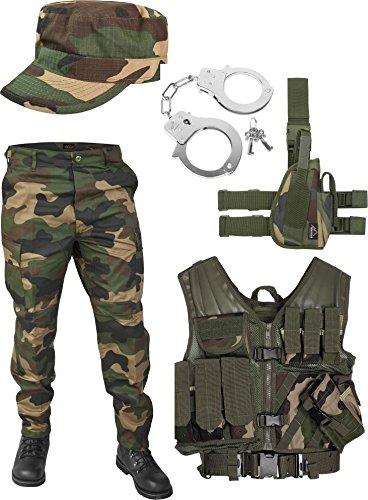 United States Marine Corps Kostüm Set bestehend aus Weste, Hose, Holster, Handschellen und Feldmütze Farbe Woodland Größe L (Kostüm Br)